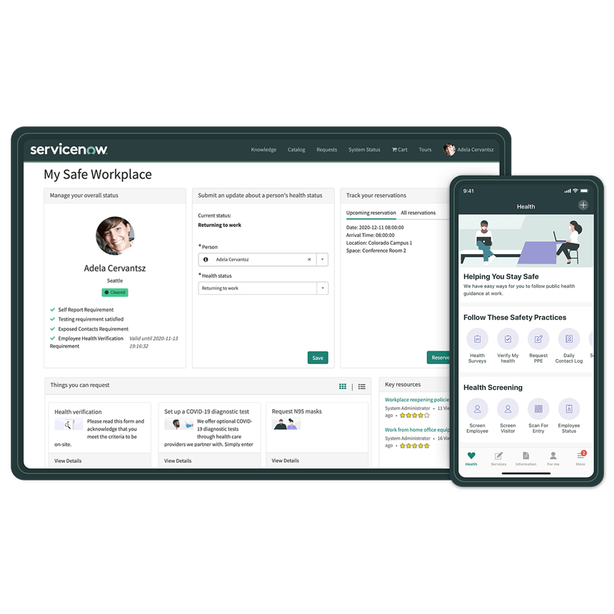 Safe Workplace experience for the Now Mobile app