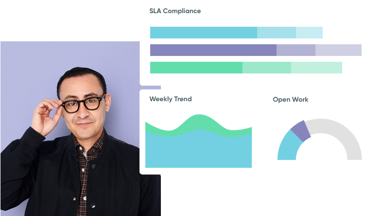 A man in glasses evaluating a company's SLA compliance charts.