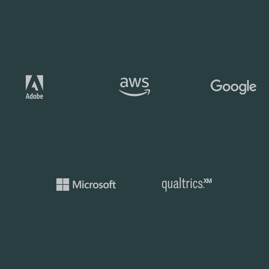 Strategic technology alliance partners, including Microsoft, IBM, Adobe, Cisco, SAP, Slack, and Amazon